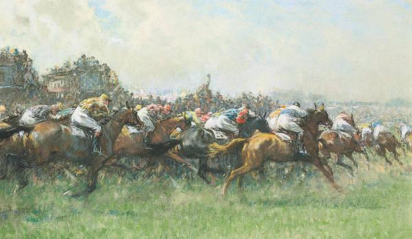 The Blue Rider Wall Art - Painting - Tattenham Corner The Epsom Derby by Gilbert Holiday