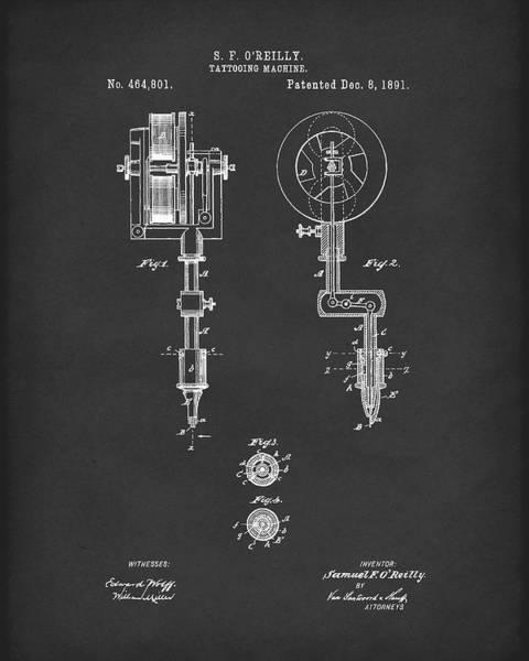 Drawing - Tattoo Machine 1891 Patent Art Black by Prior Art Design