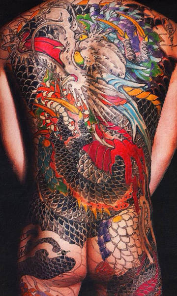 Painting - Tattoo Painting Man Back And Arms Black by Tony Rubino
