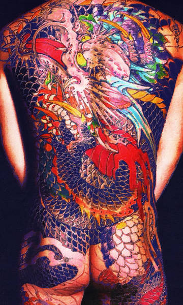 Painting - Tattoo Painting Man Back And Arms Blue by Tony Rubino
