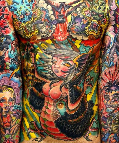 Painting - Tattoo Painting Man Torso And Arms by Tony Rubino