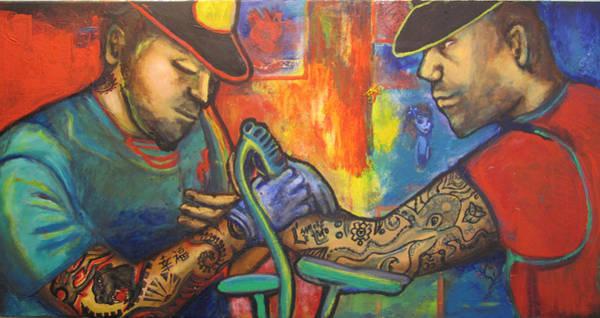 Tats Painting - Tattoo Parlor by Monike Du Bleu