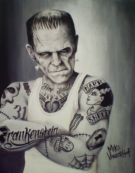 Dracula Painting - Tattooed Frankenstein By Mike Vanderhoof by Mike Vanderhoof