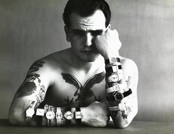 1962 Photograph - Tattooed Model Wearing Watches by Carl Fischer