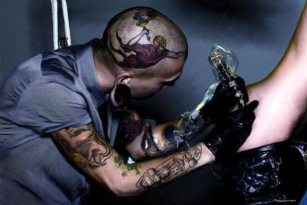 Digital Art - Tattooing by Gabriel T Toro