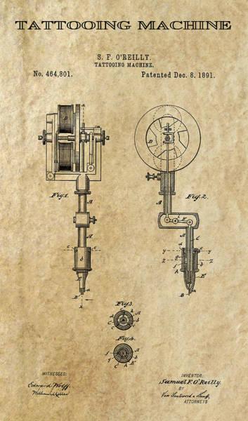 Tats Wall Art - Digital Art - Tattooing Machine 2 Patent Art  1891 by Daniel Hagerman