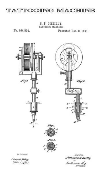 Tats Wall Art - Digital Art - Tattooing Machine Patent Art  1891 by Daniel Hagerman