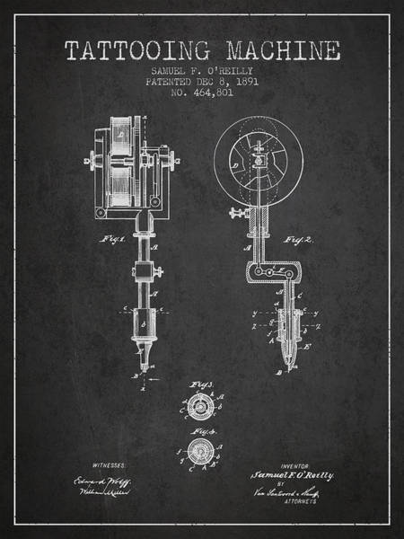 Machines Digital Art - Tattooing Machine Patent From 1891 - Charcoal by Aged Pixel