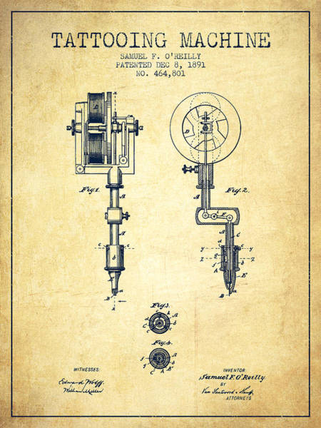 Machines Digital Art - Tattooing Machine Patent From 1891 - Vintage by Aged Pixel