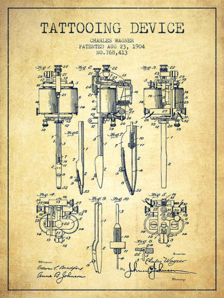 Machines Digital Art - Tattooing Machine Patent From 1904 - Vintage by Aged Pixel