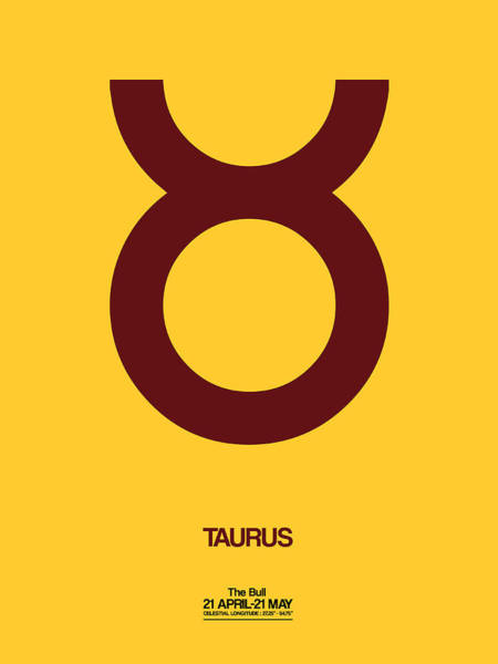 Taurus Digital Art - Taurus Zodiac Sign Brown by Naxart Studio