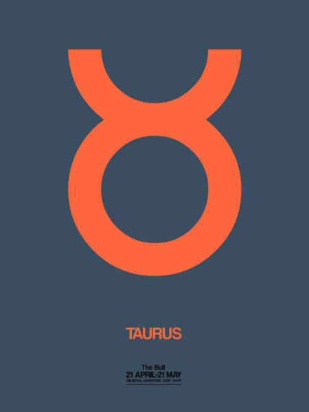 Taurus Digital Art - Taurus Zodiac Sign Orange by Naxart Studio