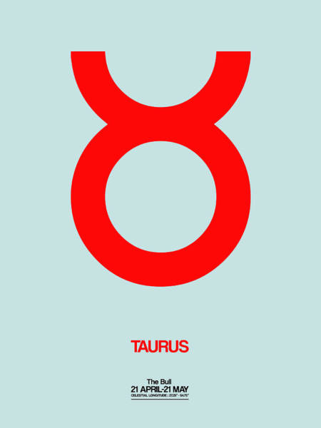 Taurus Digital Art - Taurus Zodiac Sign Red by Naxart Studio