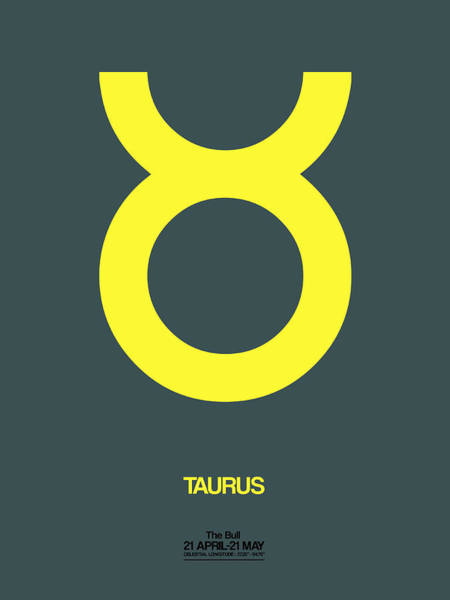 Taurus Digital Art - Taurus Zodiac Sign Yellow by Naxart Studio
