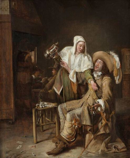 Partying Painting - Tavern Scene With Maid Trying To Fill The Glass Of A Cavalier by Pieter de Hooch