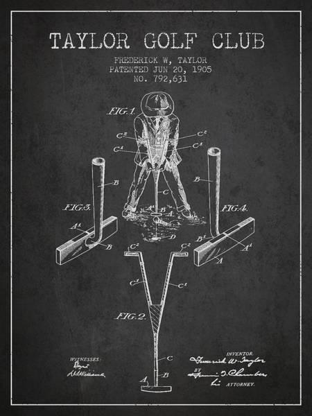 Pga Digital Art - Taylor Golf Club Patent Drawing From 1905 - Dark by Aged Pixel