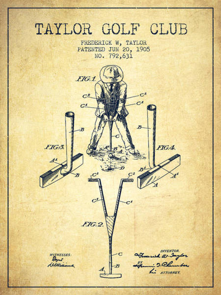 Wall Art - Digital Art - Taylor Golf Club Patent Drawing From 1905 - Vintage by Aged Pixel