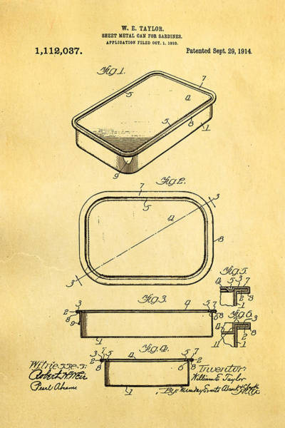 Fitter Photograph - Taylor Sardine Can Patent Art 1914 by Ian Monk