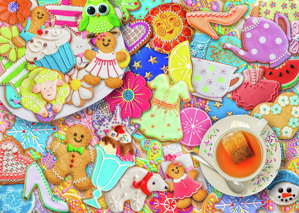 Wall Art - Painting - Tea And Cookies by MGL Meiklejohn Graphics Licensing