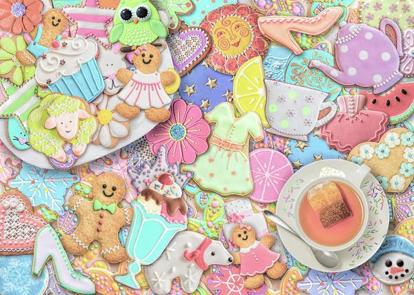 Wall Art - Painting - Tea And Cookies Pastel by MGL Meiklejohn Graphics Licensing
