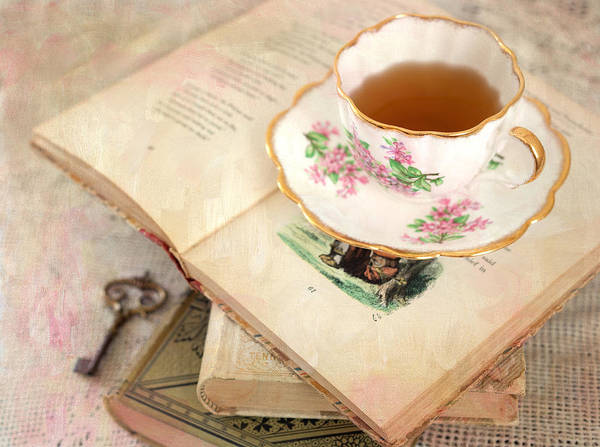 Tea Photograph - Tea Cup And Vintage Books by June Marie Sobrito