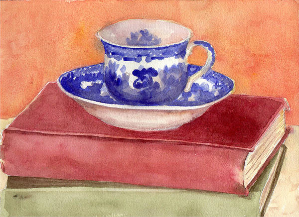 Wall Art - Painting - Tea Cup On Stack Of Books  by Blenda Studio