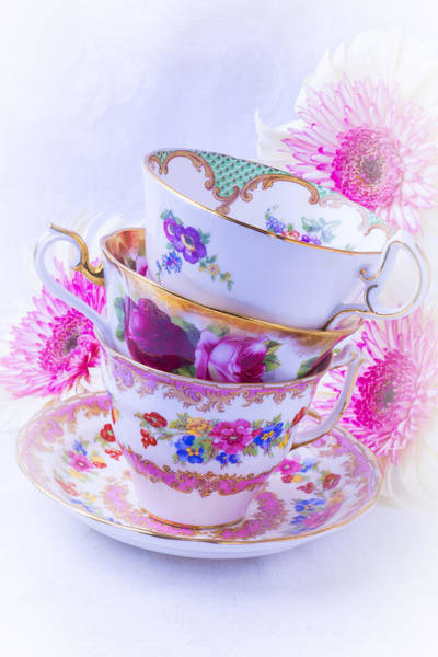 Saucer Photograph - Tea Cups With Pink Mums by Garry Gay