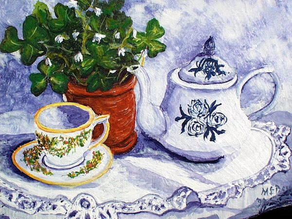 Doily Painting - Tea For Nancy by Barbara McDevitt