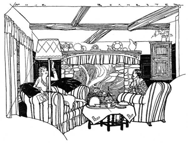 Wall Art - Drawing - Tea For Two By The Fire On A Winter by Mary Evans Picture Library