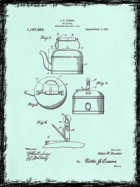 Tea Pot Wall Art - Photograph - Tea Kettle Patent 1916 by Mark Rogan
