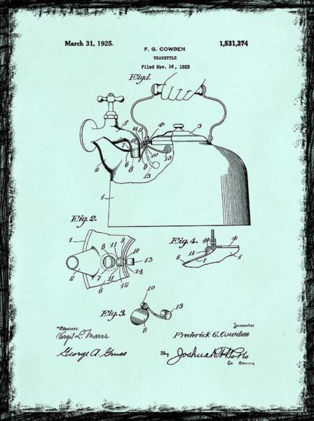 Tea Pot Wall Art - Photograph - Tea Kettle Patent 1923 by Mark Rogan