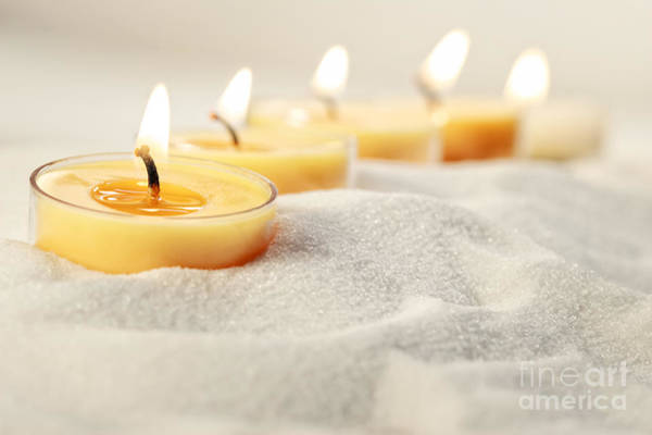 Photograph - Tea Light Candles In Sand by Sandra Cunningham