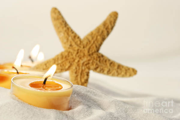 Photograph - Tea Light Candles In Sand With Star Fish by Sandra Cunningham