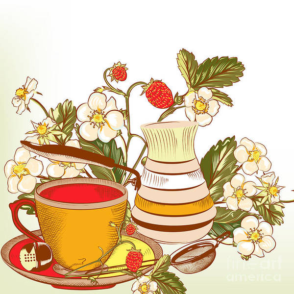 Wall Art - Digital Art - Tea Or Coffee Vector Background With by Mashakotcur