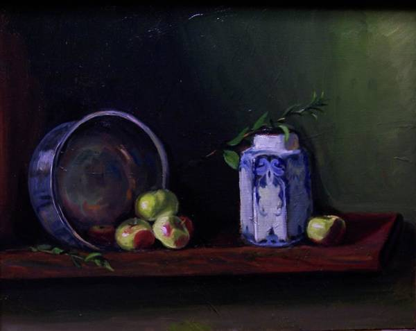 Painting - Tea Pot And Six Apples by Nicolas Bouteneff