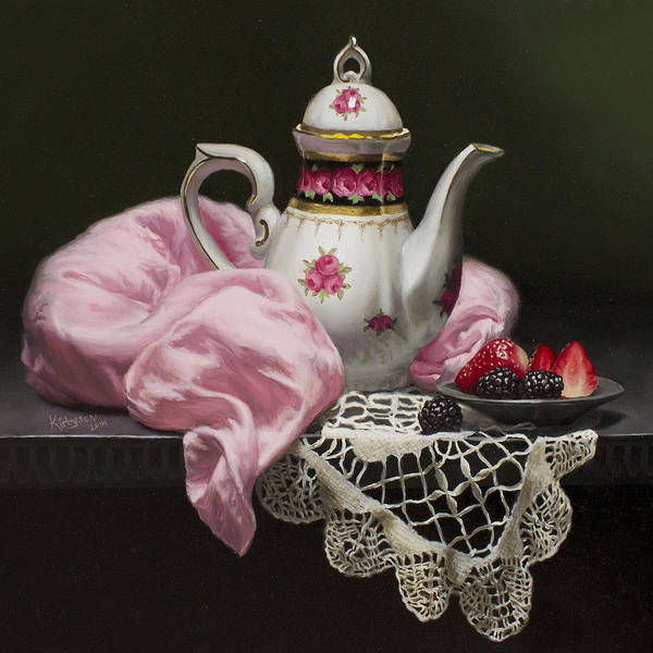 Doily Painting - Tea Time In Pink by Brianne Kirbyson