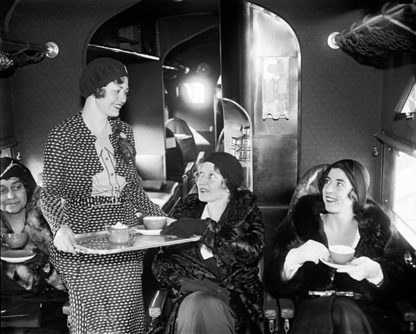 Photograph - Tea Time In The Airplane by Underwood Archives