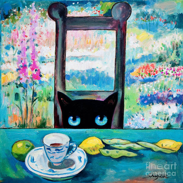 Painting - Tea Time Kitty by Shijun Munns