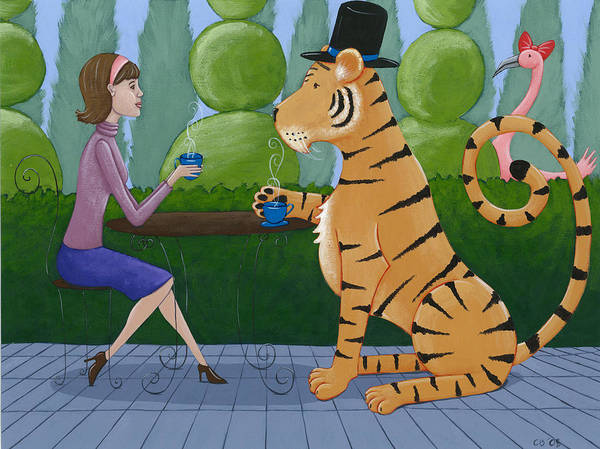 Wall Art - Painting - Tea With A Tiger by Christy Beckwith