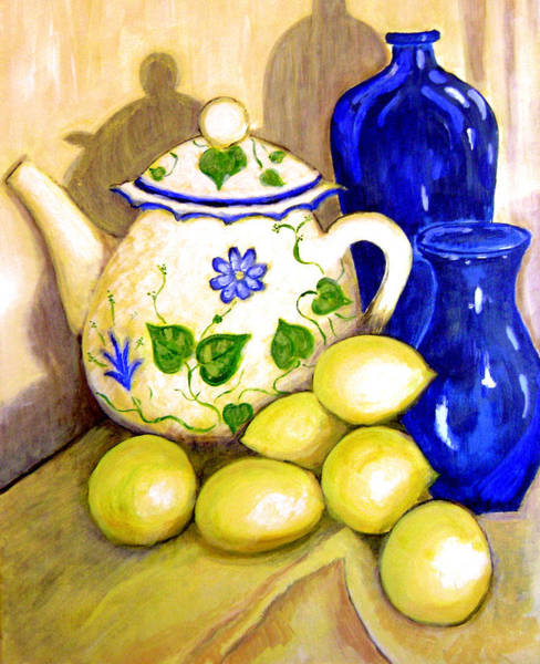 Teapot Wall Art - Painting - Tea With Lemon by Robin Mead