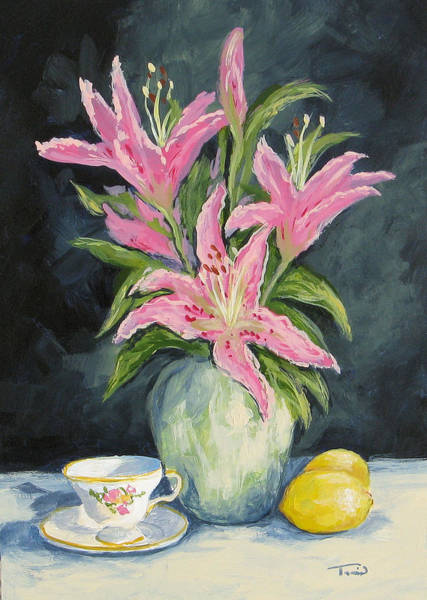 Wall Art - Painting - Tea With Lilies by Torrie Smiley