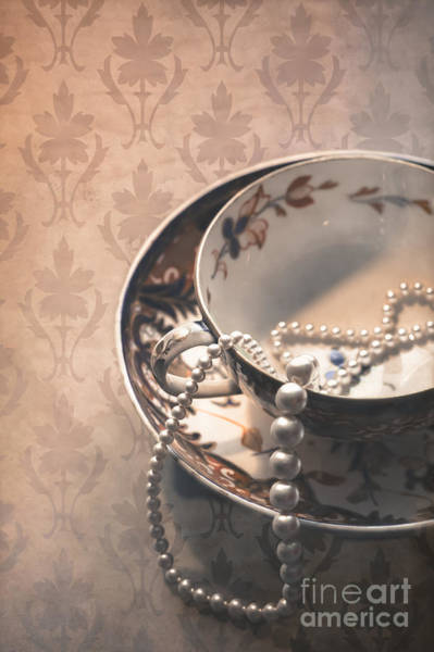 Saucer Photograph - Teacup And Pearls by Jan Bickerton