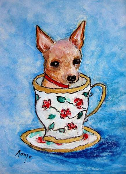 Romo Painting - Teacup Chihuahua by Robin Monroe