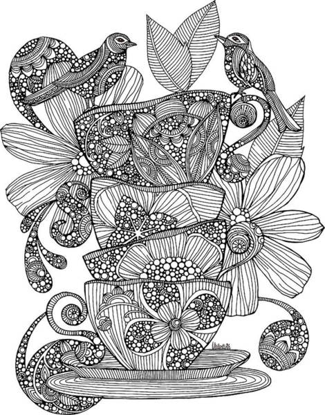 Graphics Drawing - Teacups, Birds And Flowers by MGL Meiklejohn Graphics Licensing