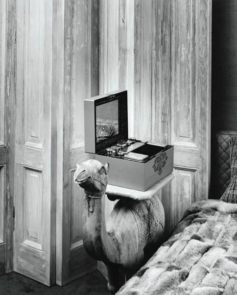 Bed Photograph - Teakwood Camel With Makeup Case In Mrs Dunquettes by Shirley C. Burden