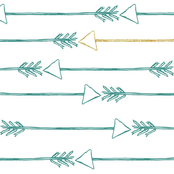 Arrow Digital Art - Teal And Gold Arrows by Sd Graphics Studio