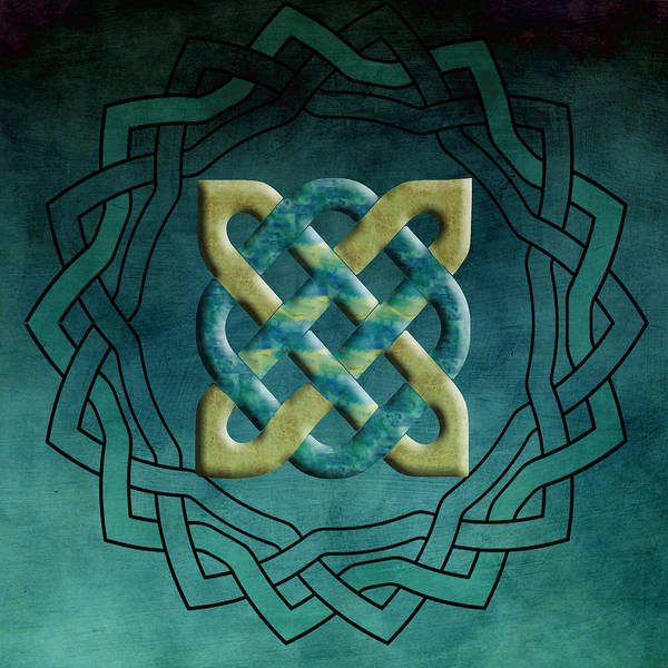 Eire Digital Art - Teal And Gold Celtic Symbol by Kandy Hurley