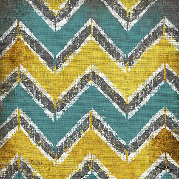 Wall Art - Painting - Teal And Gold Modele I by Elizabeth Medley