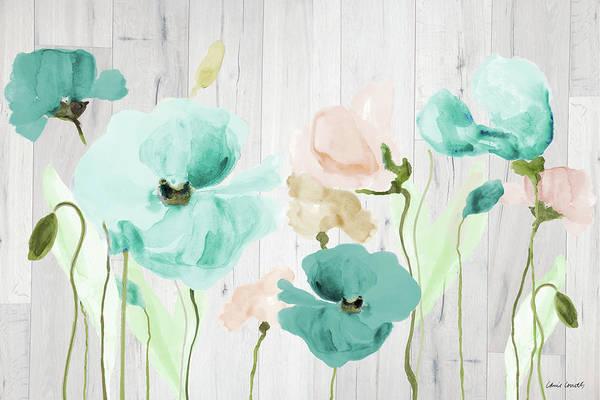 Poppies Digital Art - Teal Poppies On Wood by Lanie Loreth