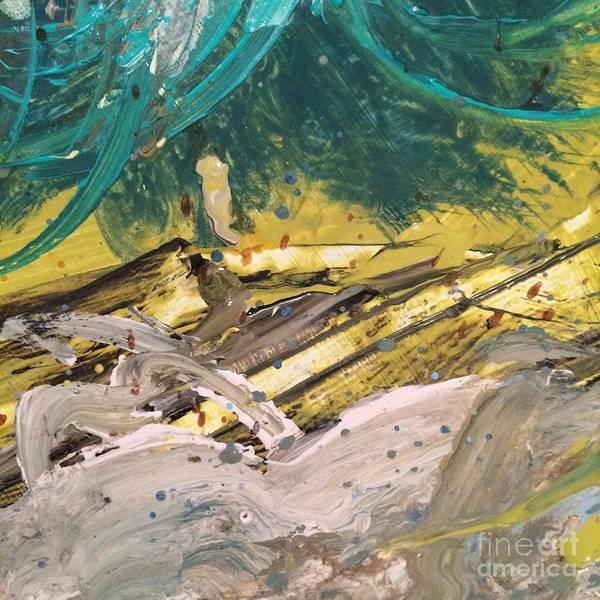 Painting - Teal Yellow White Abstract  by Robin Maria Pedrero